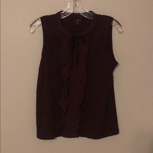 Ruffle style sleeveless blouse